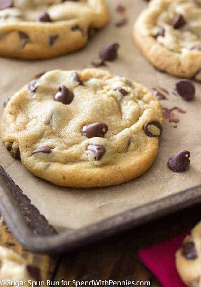 Baked chocolate chip cookies on cookie sheet