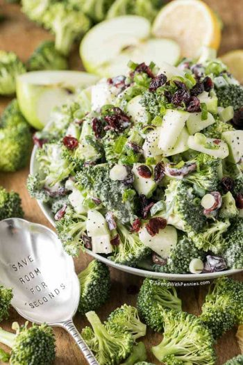 Broccoli Cranberry Salad in a white bowl with a spoon