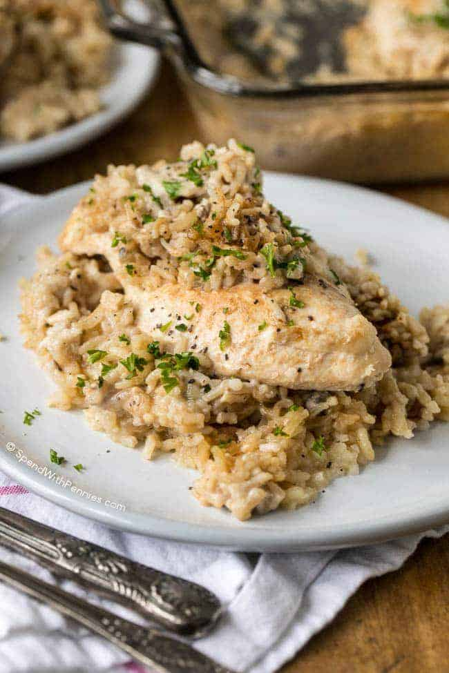 Chicken & Rice Casserole on a plate garnished with parsley