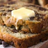 chocolate chip zucchini banana bread with melting butter and chocolate chips