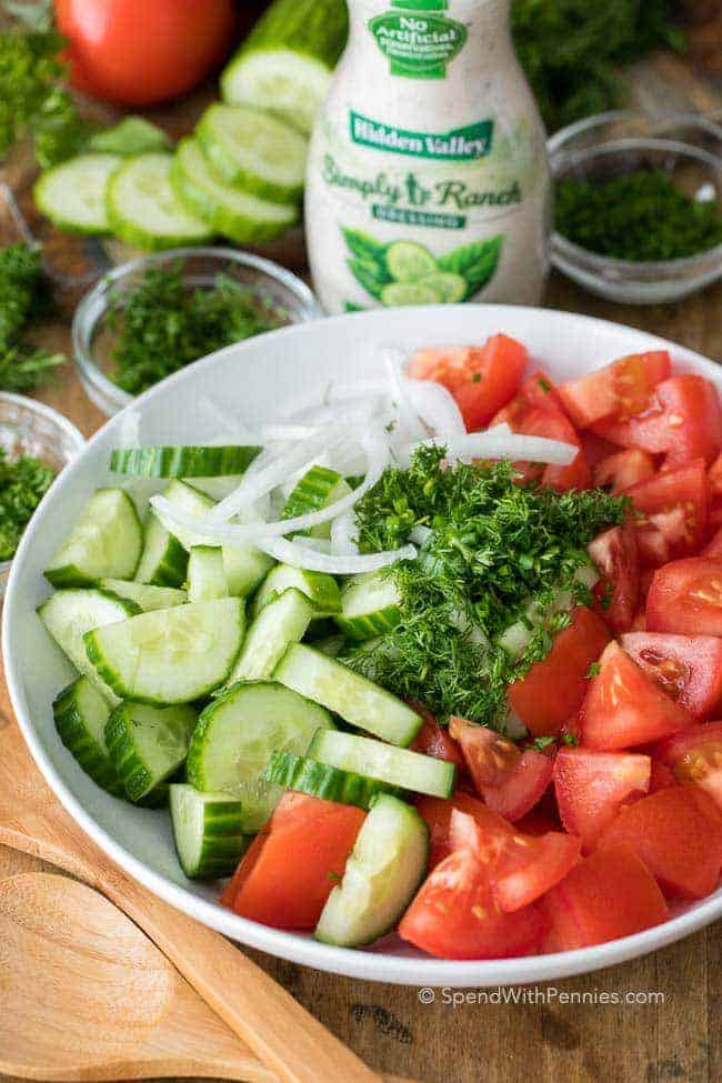 Ingredients for Creamy Cucumber Tomato Salad