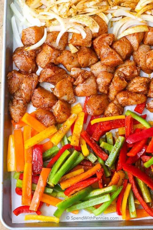 Ingredients for Fajita Meal Prep Bowls on a sheet pan