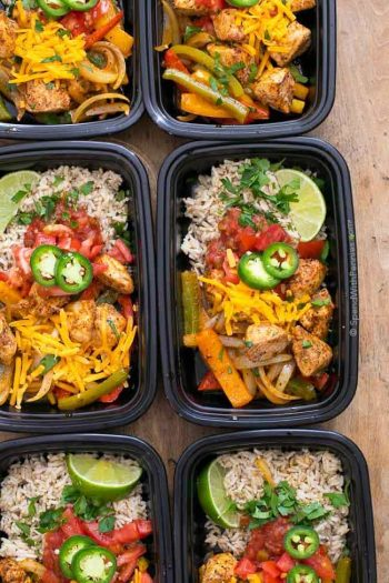Fajita Meal Prep Bowls in containers