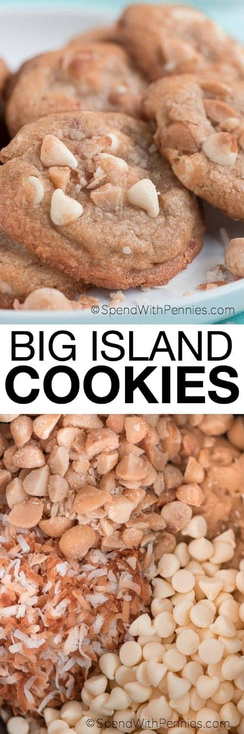 Big Island Cookie ingredients and some on a plate with writing