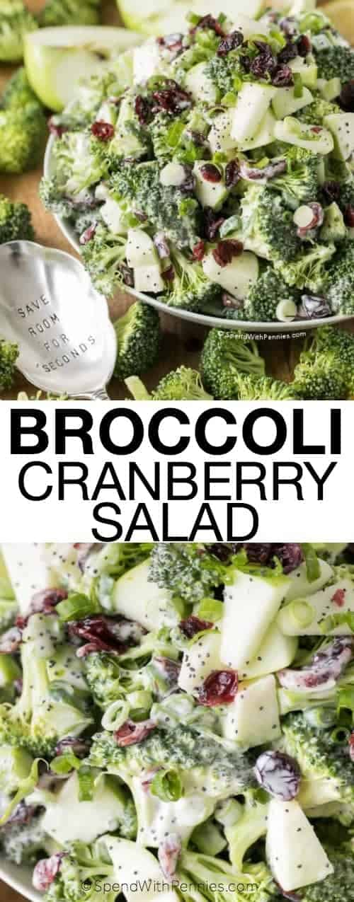Broccoli Cranberry Salad in a bowl with writing