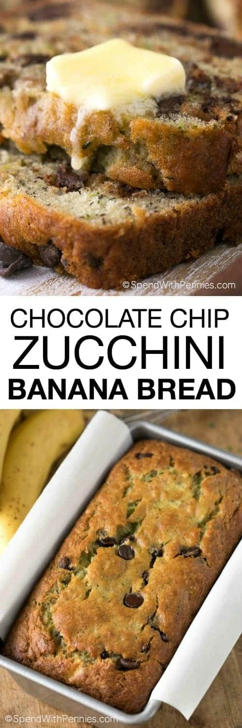 chocolate chip zucchini banana bread in pan and sliced with a title