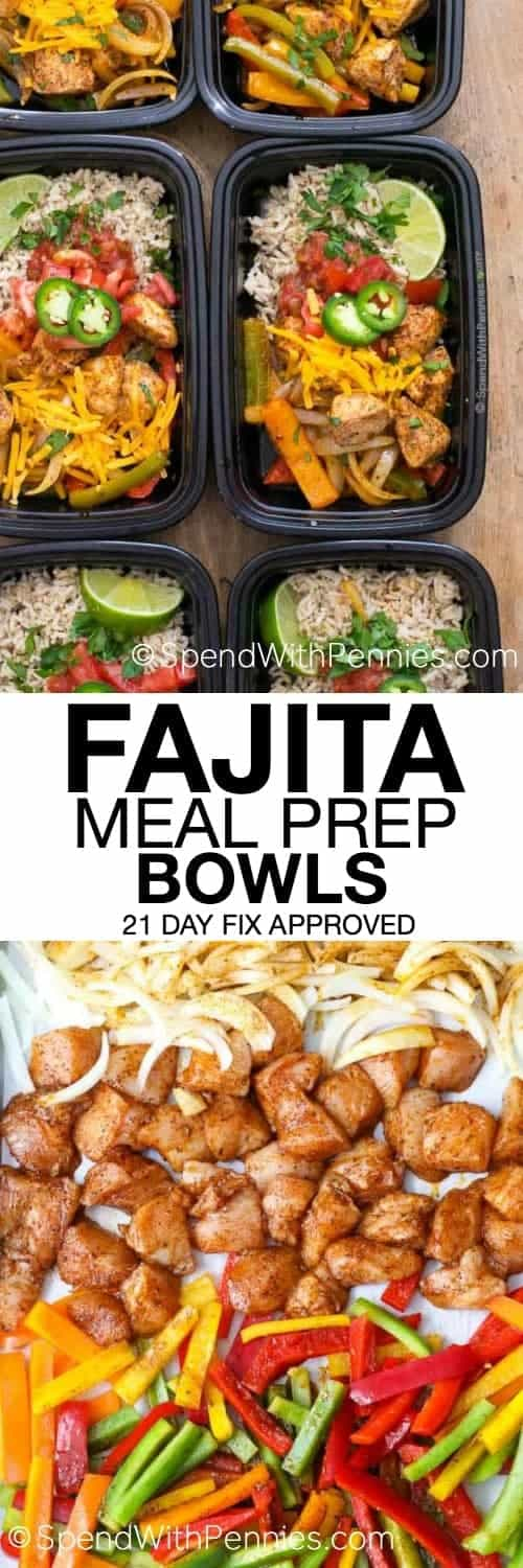 Fajita Meal Prep Bowls with a title