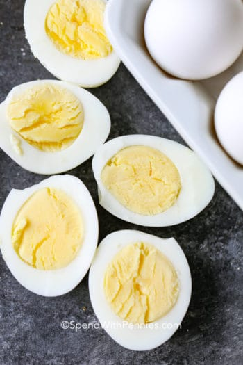 Overhead shot of sliced Hard Boiled Eggs