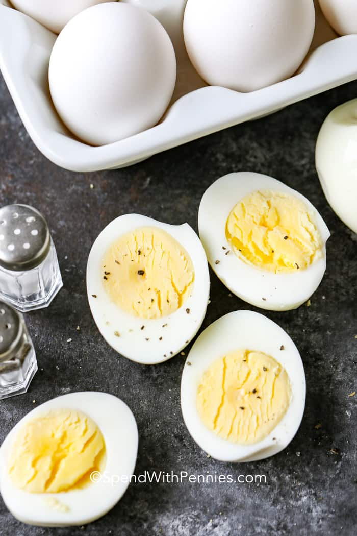 Hard boiled eggs cut in half and seasoned with salt and pepper.