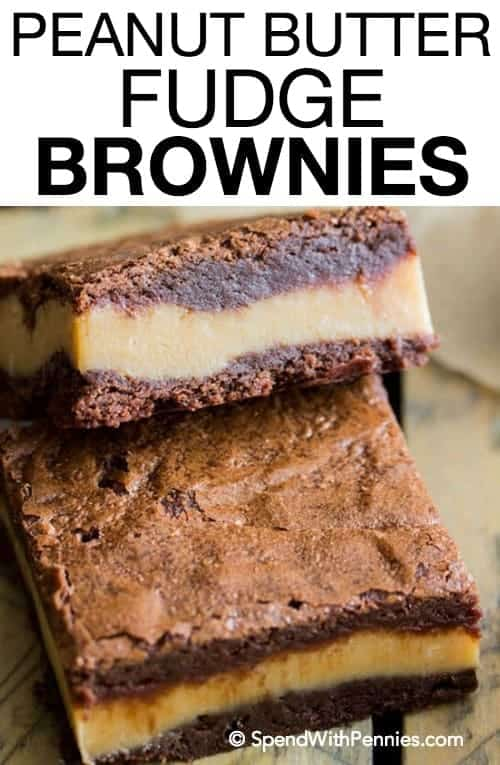These decadent, surprise-insidepeanut butter fudge brownies are made of fudgy chocolate brownies with a thick layer of simple peanut butter fudge sandwiched in the middle!