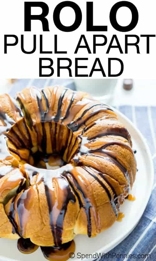This Easy Rolo Pull Apart Bread is a delicious 2-ingredient brunch or dessert dish that's perfect for potlucks or big family gatherings!