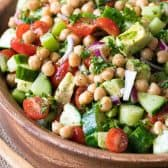 Wooden bowl full of Chickpea Salad