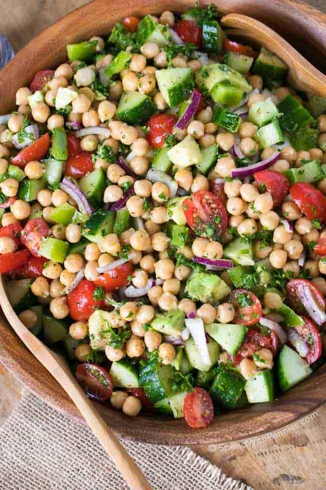 "<div style=""display: none;""><img class=""PS_Pinterest_Remove"" src=""http://www.spendwithpennies.com/wp-content/uploads/2017/04/L-Pin-Chickpea-Salad.jpg"" alt=""This beautiful Chickpea Salad combines all of my favorite fresh vegetables in one delicious bite.  Juicy tomatoes, refreshing cucumbers, creamy avocados with chickpeas all tossed in an easy homemade lemon kissed dressing.  This is the perfect make ahead dish as this salad keeps for days!"" /></div>"