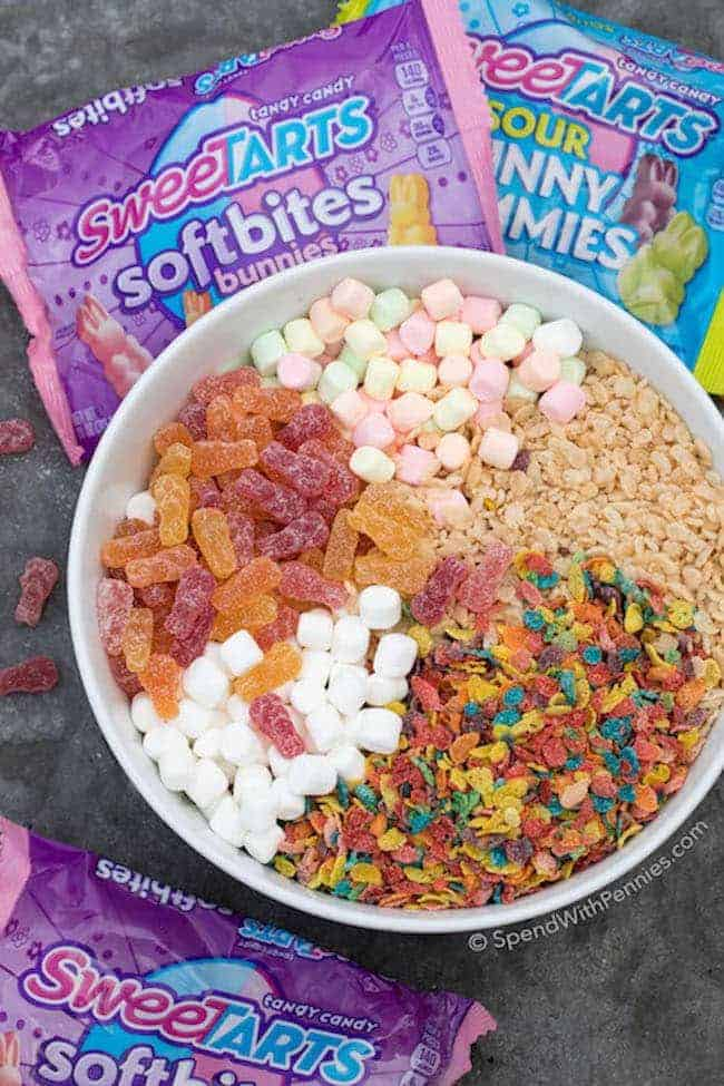 Crispy Marshmallow Eggs are the perfect no bake fruity flavored Easter treat! With a combination of crispy rice cereal, loads of gooey marshmallows and ultra soft fruity gummies, these are definitely going to be a spring favorite!