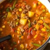 Hamburger Soup in a pot with a ladle