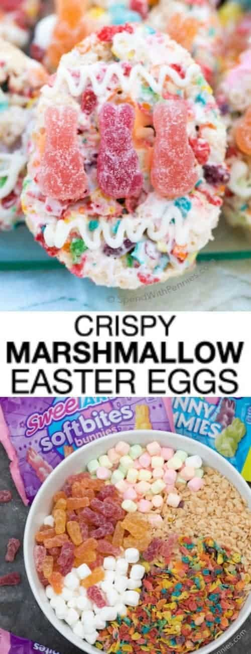 Crispy Marshmallow Eggs with a title