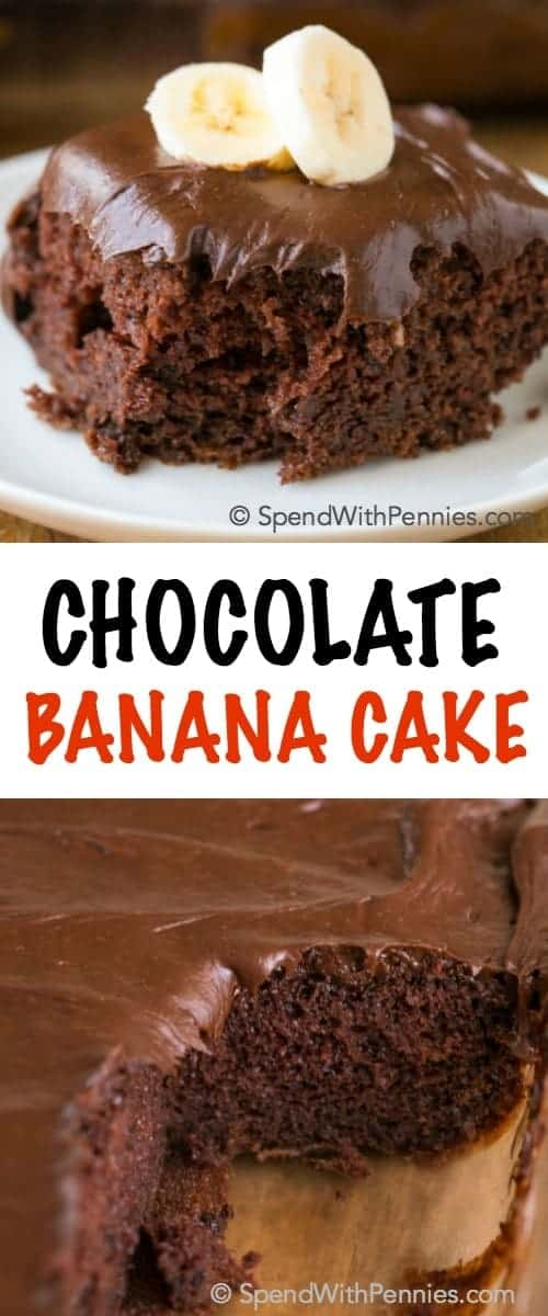 Chocolate Banana Cake is the perfect dessert for when you are short on time but need a yummy dessert. The addition of bananas to this recipe makes a box mix chocolate cake into a deliciously moist and decadent treat!