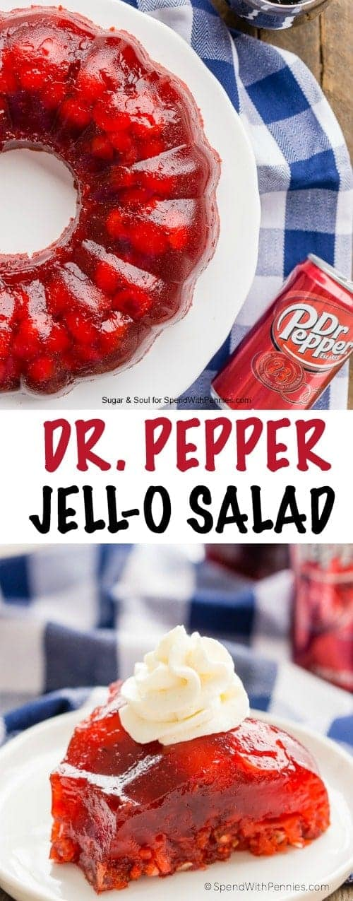 This Dr Pepper Jello Salad is a fun, no bake, retro dessert loaded with cherries, pineapple, and pecans!