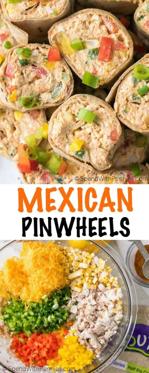 Ingredients for Mexican Pinwheels and Mexican Pinwheels with writing
