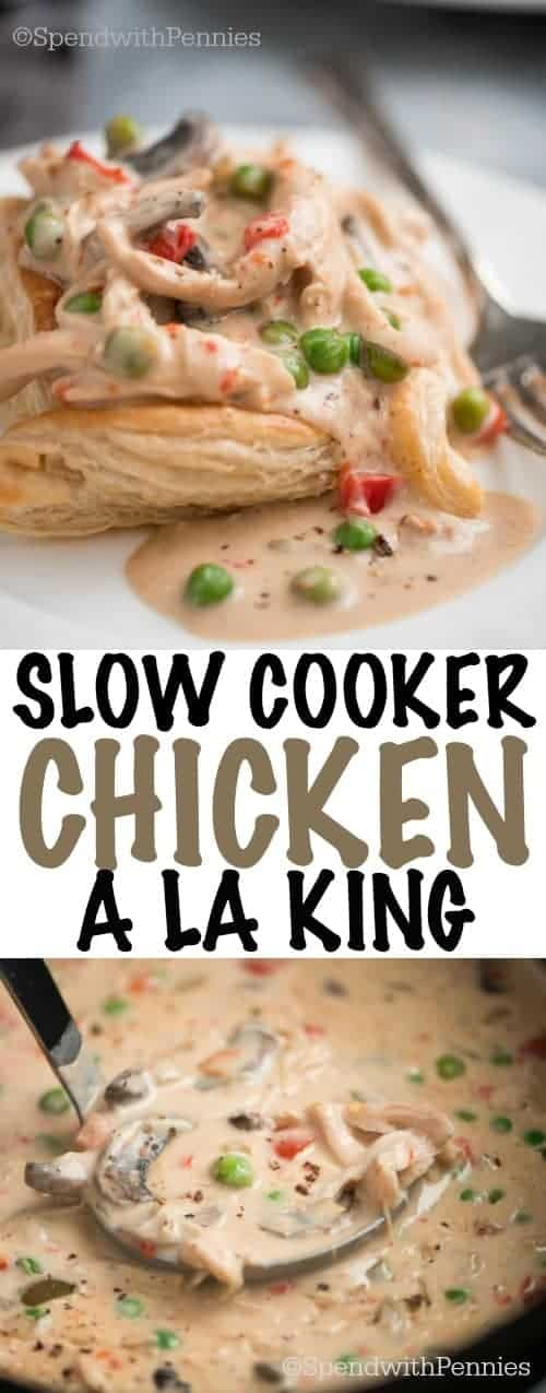 Slow Cooker Chicken a la King served in a puff pastry square is a super easy, creamy, comforting dish that your family and friends will love.