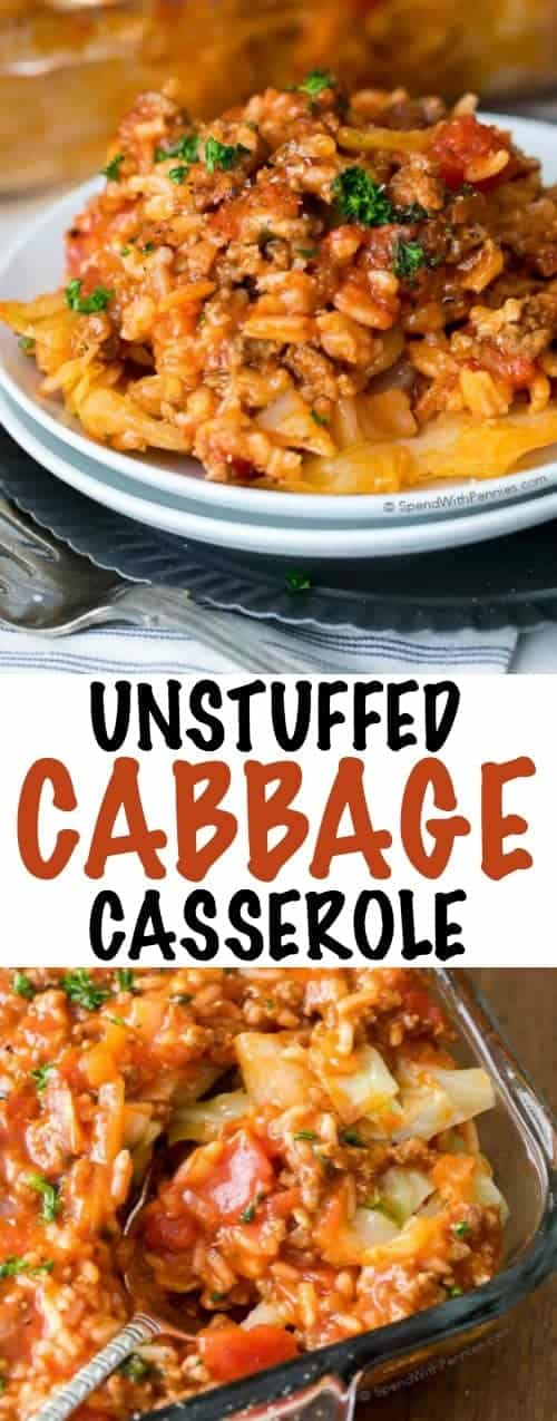 Unstuffed Cabbage Casserole on a plate and in a casserole dish with writing