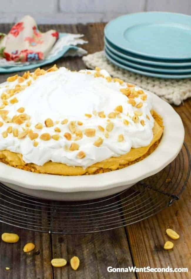 Peanut Butter Pie in a pie plate