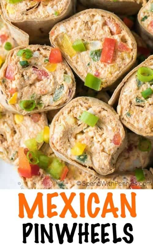 Mexican Pinwheels are the perfect spring lunch or afternoon snack; they are simple to make, as delicious as can be, and they transport easily! Loaded with cheeses, chicken and veggies all wrapped in a delicious flatbread, this easy pinwheel recipe will quickly become one of your favorite make ahead meals!