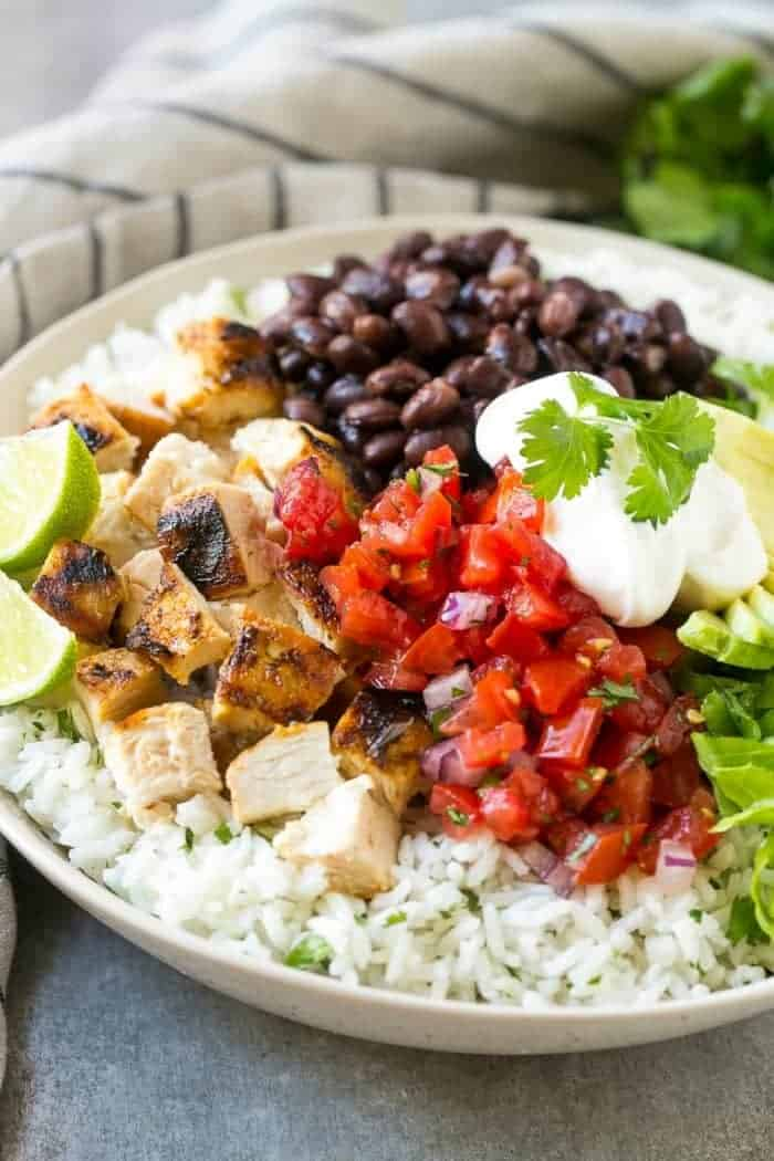 chicken burrito bowl with black beans and rice