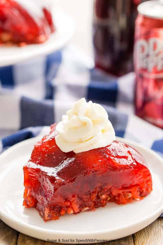 Dr Pepper Jello Salad is a fun, no bake, retro dessert loaded with cherries, pineapple, and pecans!
