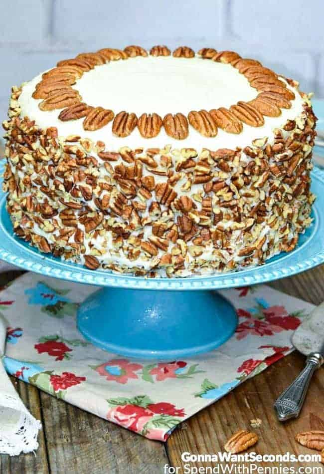 Hummingbird Cake on a blue platter