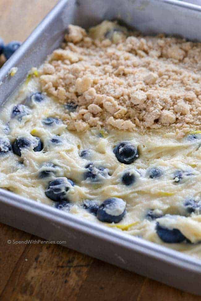 blueberry buckle batter with topping on half of it