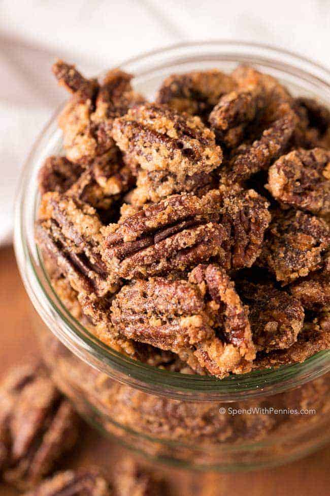 closeup of candied pecans or caramelized pecans
