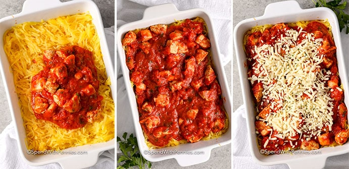Three images showing the steps to layer the Spaghetti Squash Chicken Parmesan.