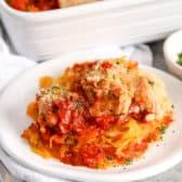 Chicken Parmesan Spaghetti Squash on a white plate