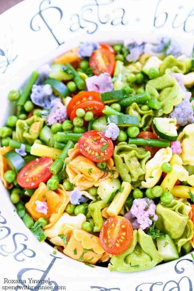 With just a few minutes of prep time, this delicious tortellini salad is chock-full of fresh veggies making it the perfect light side dish all summer long!