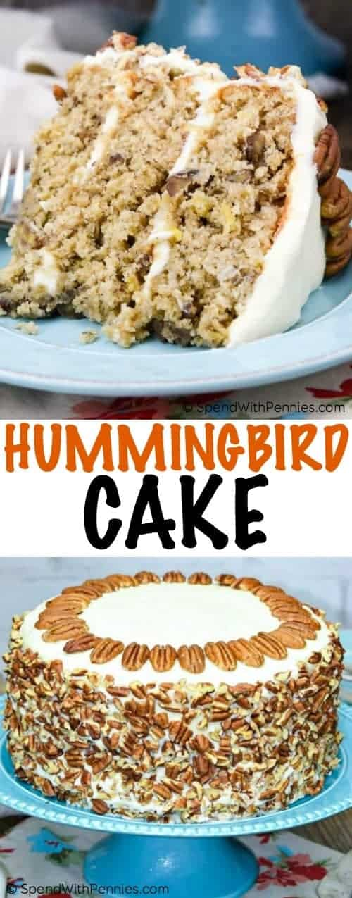 Hummingbird cake is a perfect marriage of fruit, tropical flavors and nuts. It's light and delectable, with a fantastic cream cheese icing!