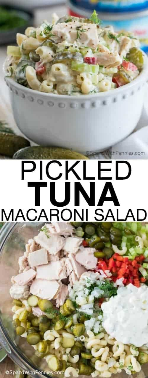 Pickled tuna macaroni Salad in a white bowl and ingredients in a clear bowl with writing