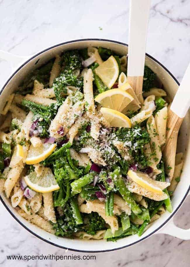 Broccolini Parmesan Pasta Salad is a fresh lemony summer salad perfect for lunch or potlucks!