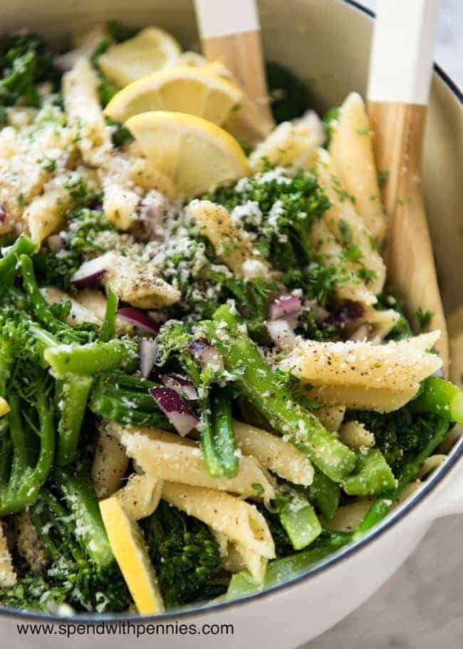 Broccolini Parmesan Pasta Salad is delicious, fresh and packed with lemony parmesan flavor!
