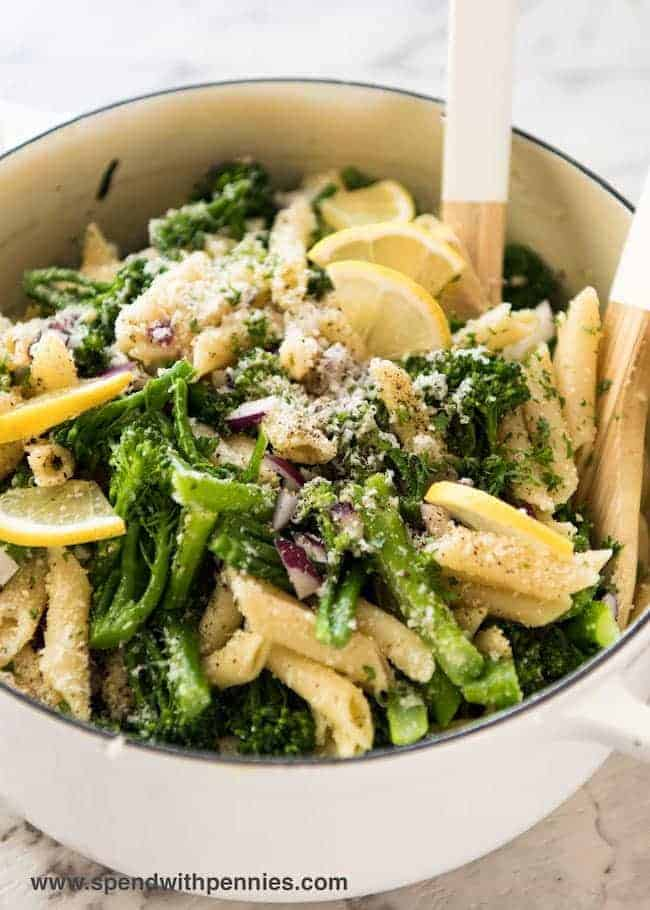 A big bowl of Broccolini Parmesan Pasta Salad is the perfect make ahead dish for lunch or a summer side!