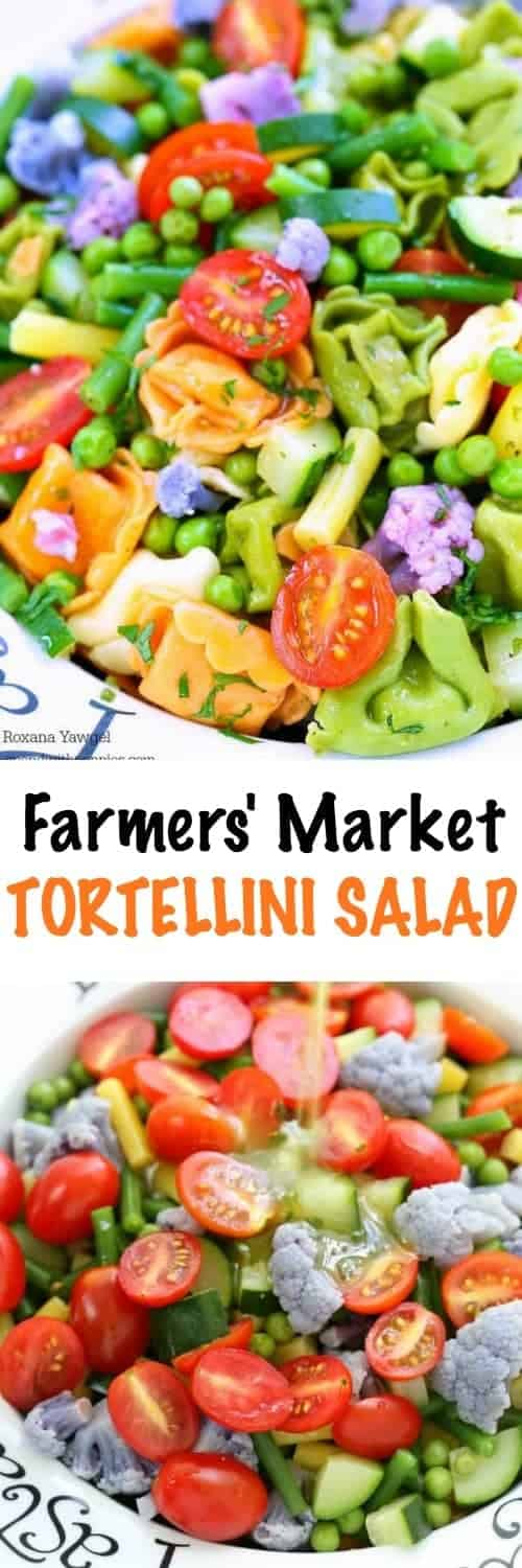Farmers' Market Tortellini Salad with a title