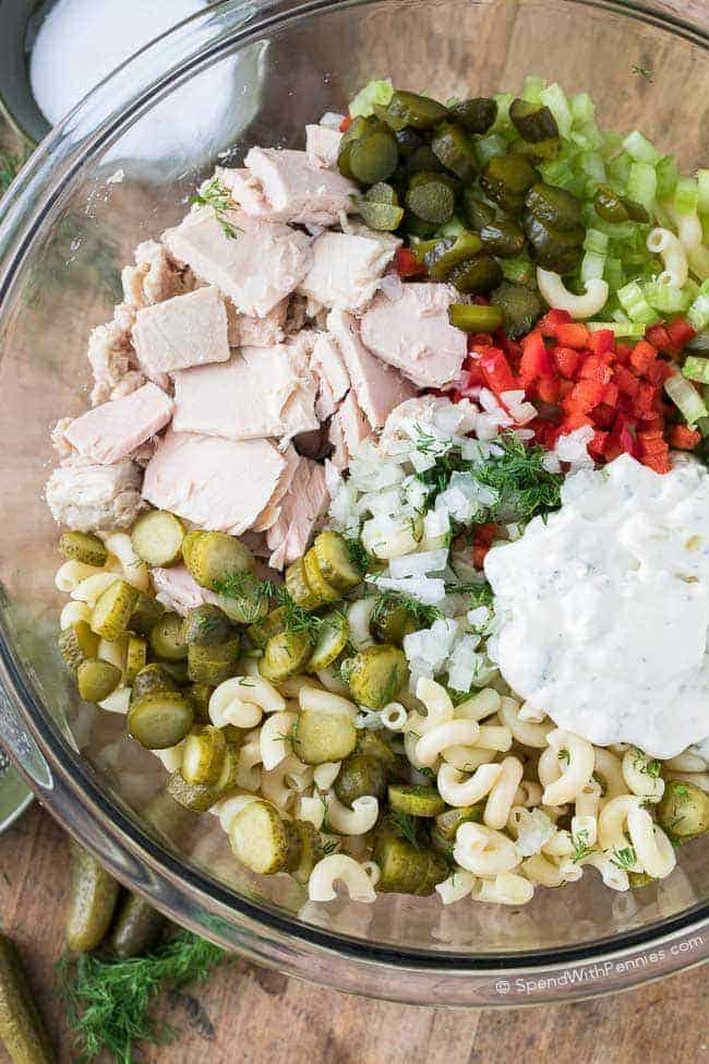 Pickled Tuna Macaroni Salad! This lightened up pasta salad is a versatile and healthy dish, perfect for lunch or a quick dinner and a tasty way to get the recommended 2 to 3 servings of seafood a week!
