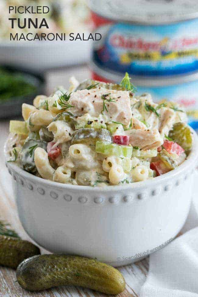 Pickled Tuna Macaroni Salad - Spend With Pennies