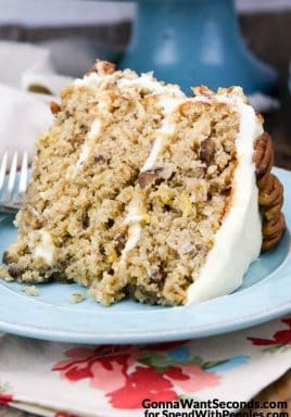 Hummingbird Cake-this ultra moist cake is a delicious combo of bananas, pineapple and pecans.