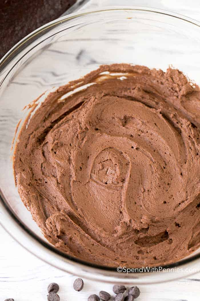 Clear glass bowl of Chocolate Ganache Frosting