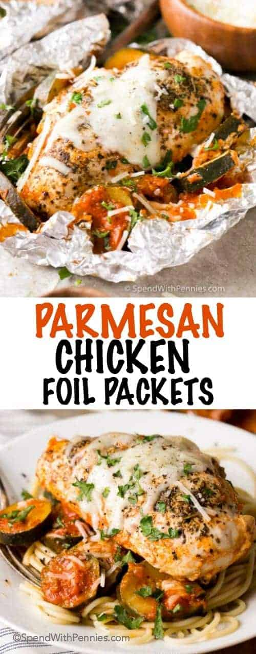 Parmesan Chicken Foil Packets with a title