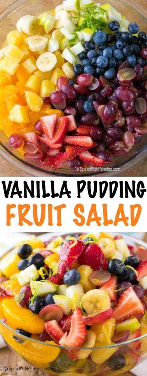 Vanilla Pudding Fruit Salad is a simple and sweet twist on a traditional fruit salad recipe.  This easy dessert has a beautiful rainbow of fruit in an easy vanilla sauce making it the perfect dessert or ice cream topping!