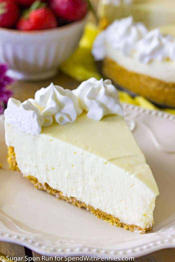 A slice of lemony perfection! A sweet, tart, and simple no-bake lemon cheesecake is truly the perfect summer dessert!