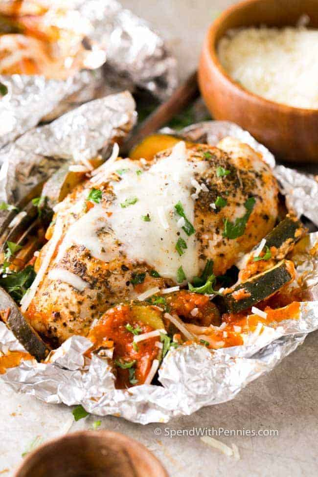 Unwrapped Parmesan Chicken Foil Packet