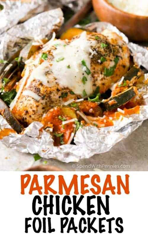 Unwrapped Parmesan Chicken Foil Packet with a title